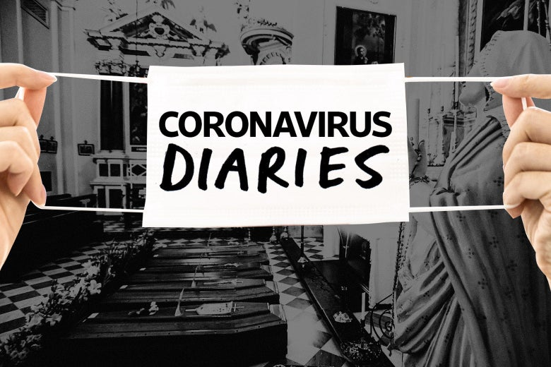 The Coronavirus Diaries tag across a background of a church in Italy that has five coffins in it.