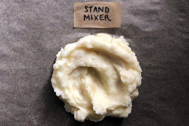 A dollop of mashed potatoes labeled Stand Mixer.