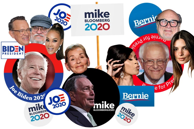 Stickers of Democratic candidates' faces surrounded by the faces of the celebrities who endorse them