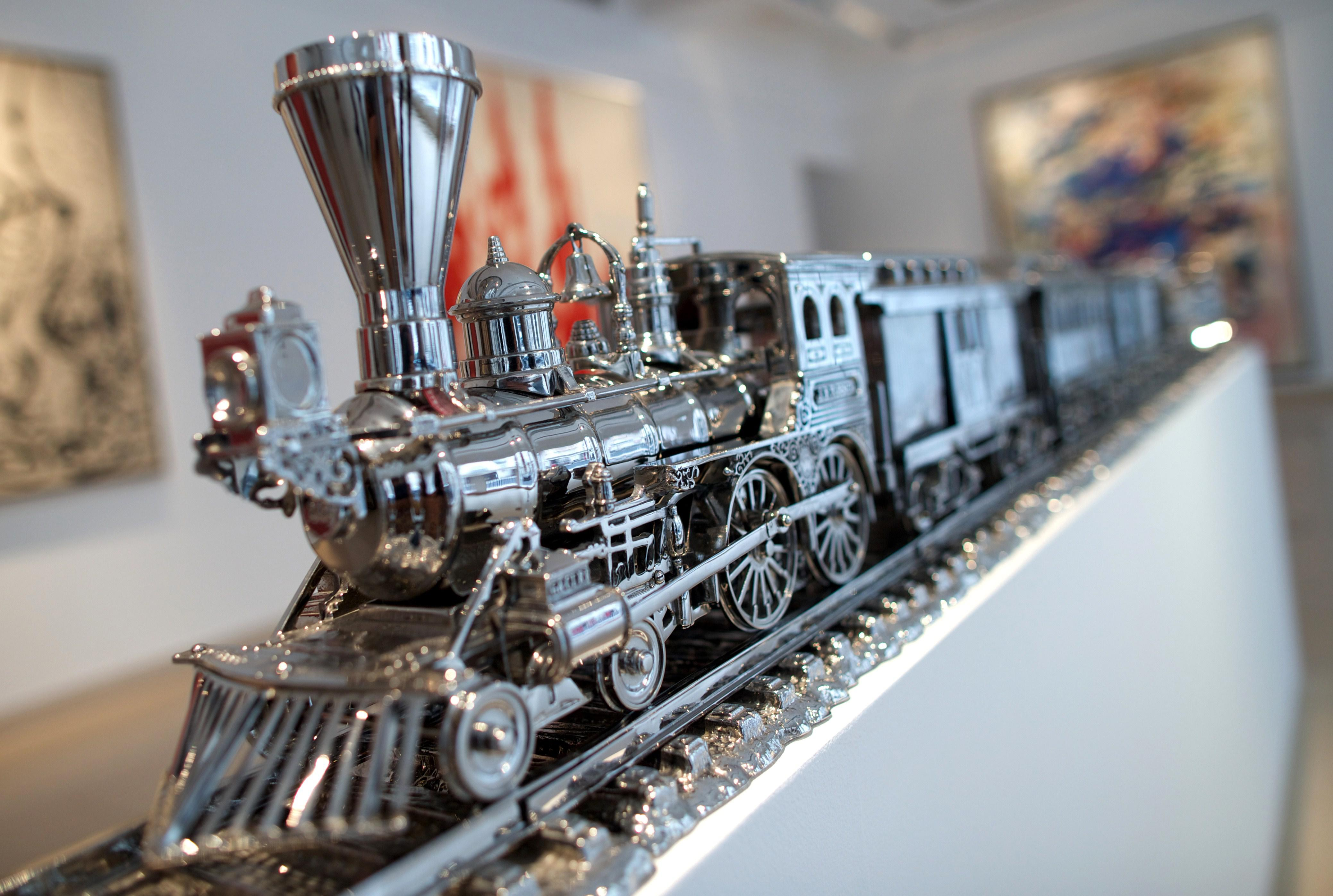 Jim Beam D J.B. Turner Train by Jeff Koons is displayed during a photo call at Christie's in central London.
