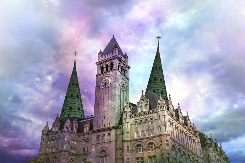 Exterior of the Trump International Hotel in D.C., photoshopped to be bathed in colorful, heavenly light.