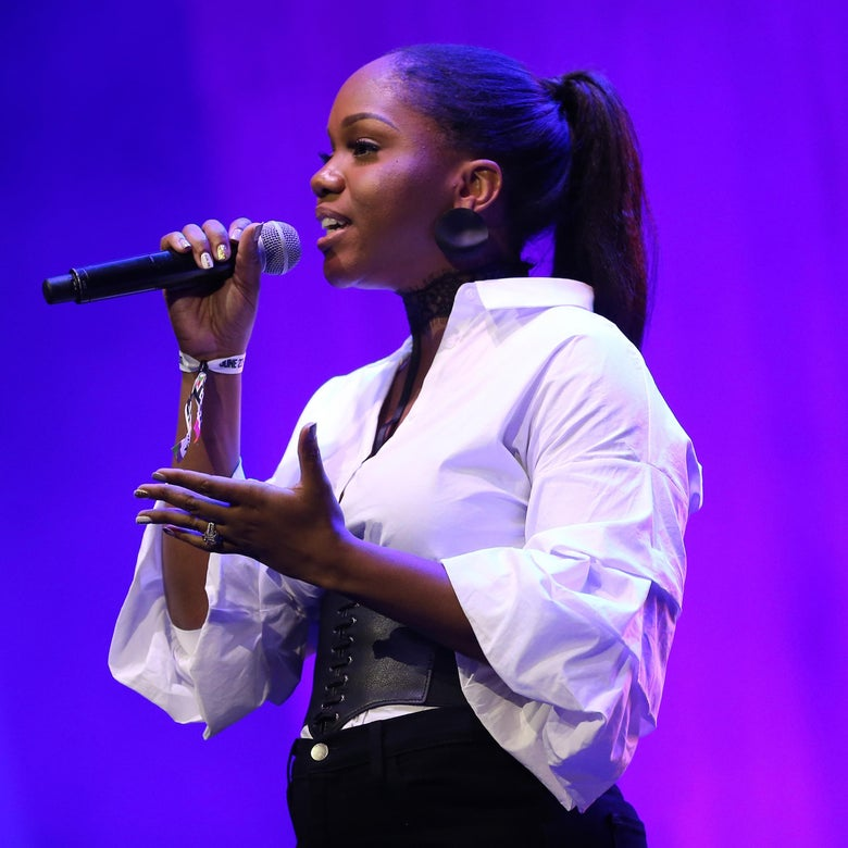 LOS ANGELES, CA - JUNE 25:  Sarah Jakes Roberts speaks onstage during a Celebration of Gospel Live, sponsored by Nissan, at the BETX main stage during the 2017 BET Experience at Los Angeles Convention Center on June 25, 2017 in Los Angeles, California.  (Photo by Rich Polk/Getty Images for BET)
