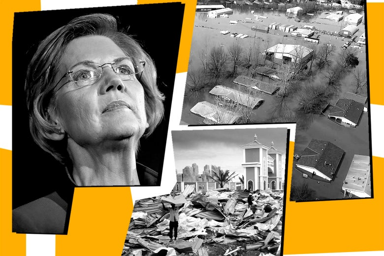 Elizabeth Warren, flooding in Nebraska, and the aftermath of a cyclone in Mozambique.