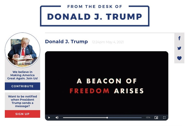 "A screenshot of Trump's new platform featuring a photo of Trump writing at a desk and a video still that says ""A Beacon of Freedom Arises"""