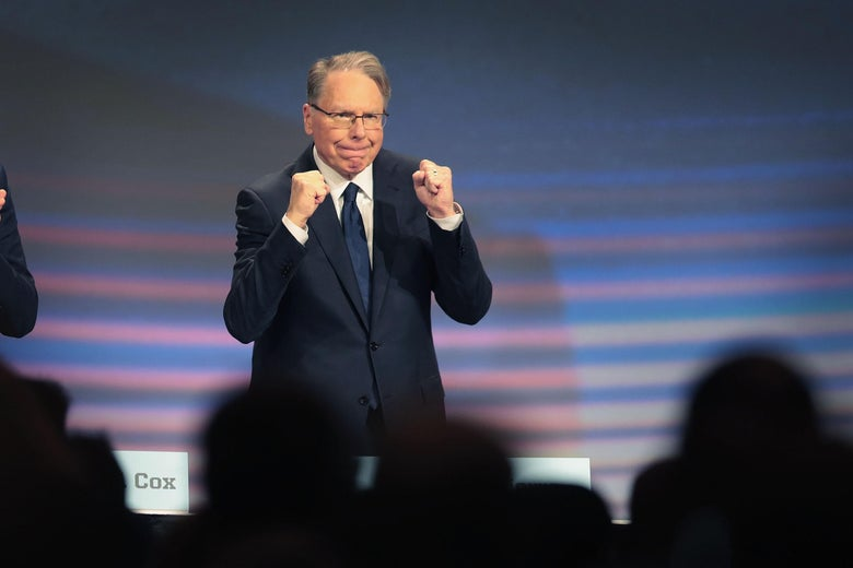 Wayne LaPierre speaks at an NRA event.