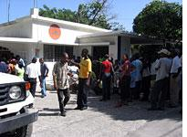 The line outside a Port-au-Prince registration bureau at 10 a.m. People had been in line since 5 that morning. Click image to expand.