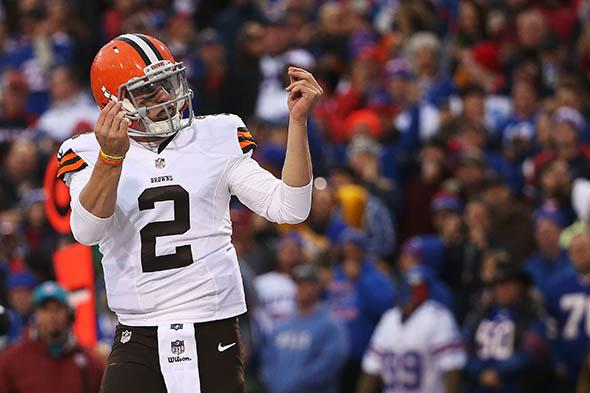 Johnny Manziel #2 of the Cleveland Browns celebrates a touchdown against the Buffalo Bills.