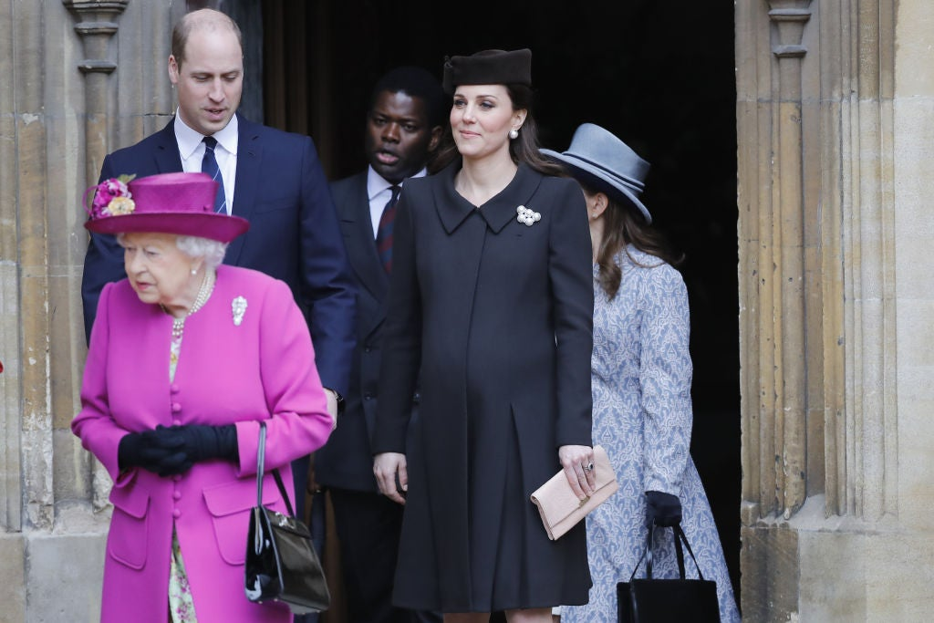 Queen Elizabeth, Prince William, and Kate Middleton after Easter church service.