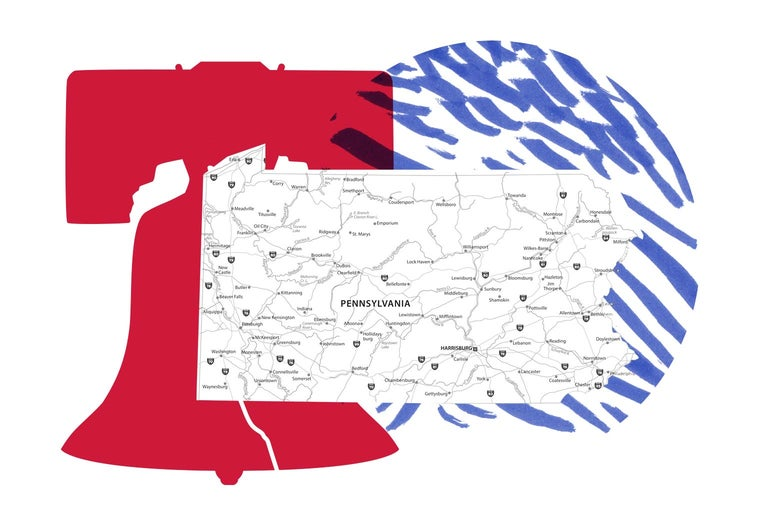 A map of Pennsylvania and a Liberty Bell.