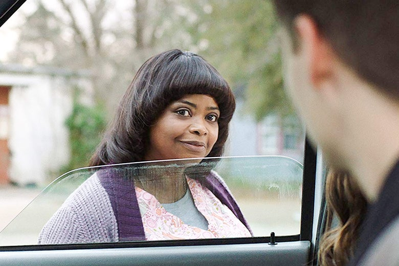 In a scene from Ma, Octavia Spencer looks creepily into a car window.