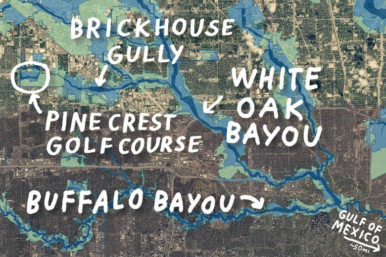 Flood map of northwest Houston.