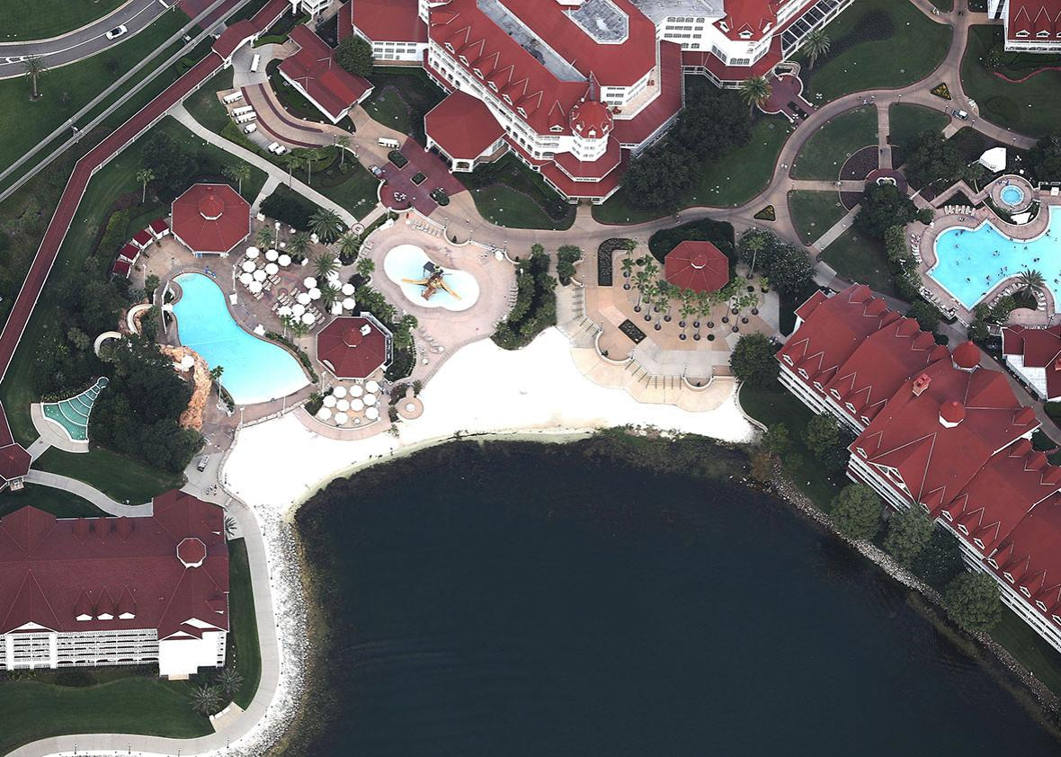 The beach area of the Walt Disney World's Grand Floridian resort hotel is seen where a 2-year-old boy was taken by an alligator as he waded in the waters of the Seven Seas Lagoon on June 15, 2016 in Orlando, Florida.