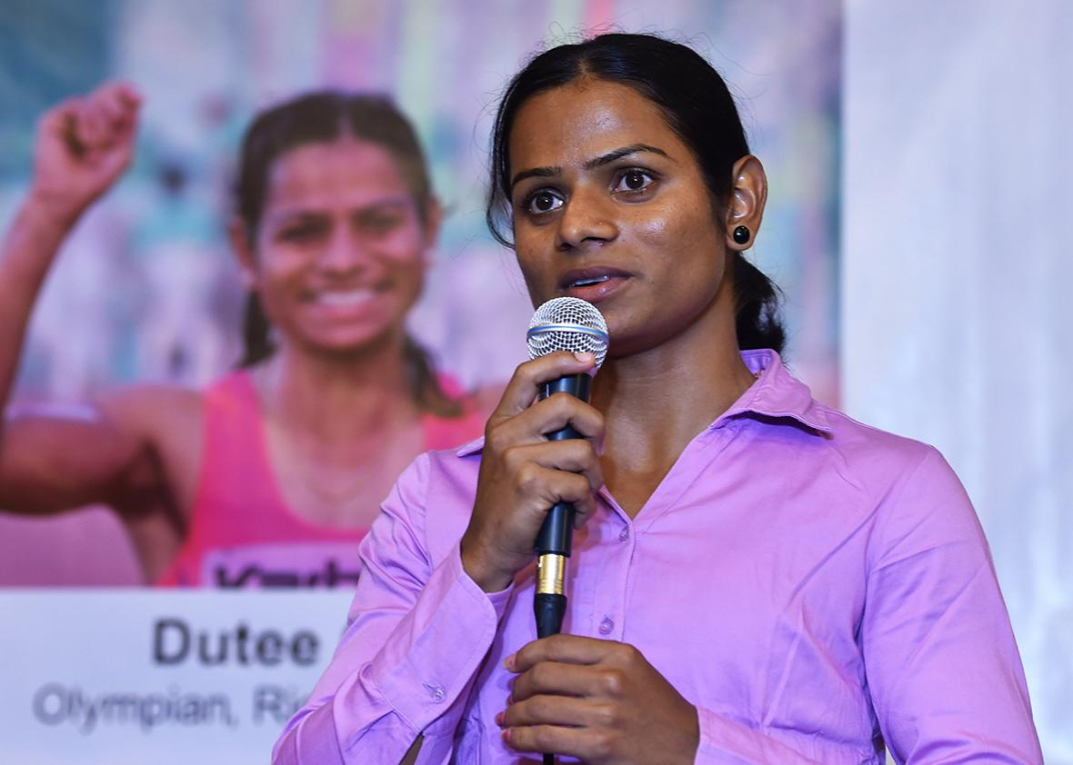 Indian sprinter Dutee Chand, who has qualified for the Women's 100 meters event at the Summer Olympic Games, addresses a press conference in Bangalore on July 9, 2016.