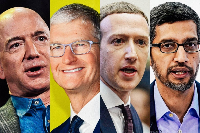 Photos of Bezos, Cook, Zuckerberg, and Pichai collaged together.
