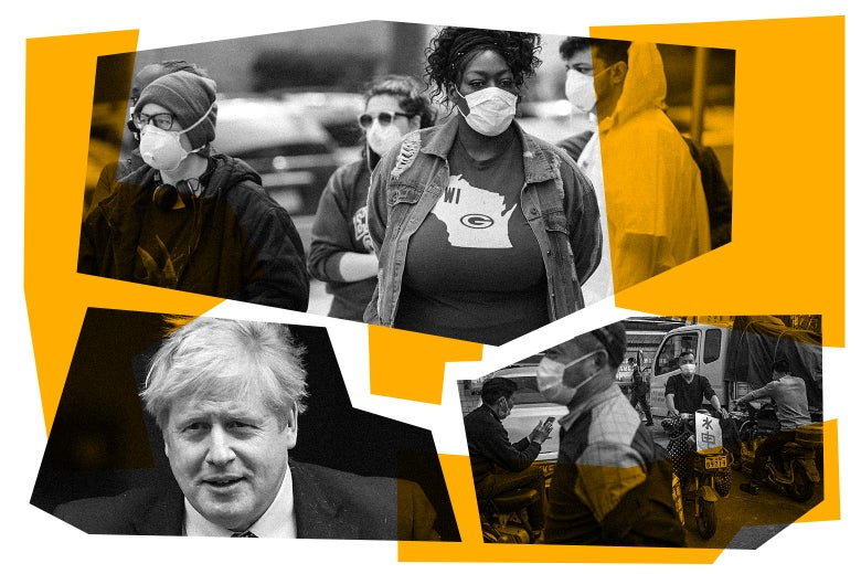 Photo collage of voters wearing masks, Boris Johnson, and Wuhan workers wearing masks
