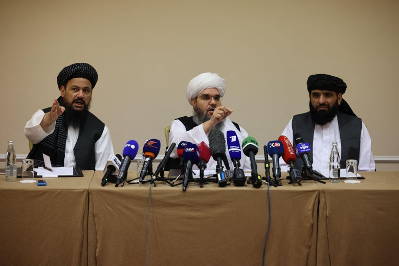 Taliban representatives giving a press conference in Moscow .