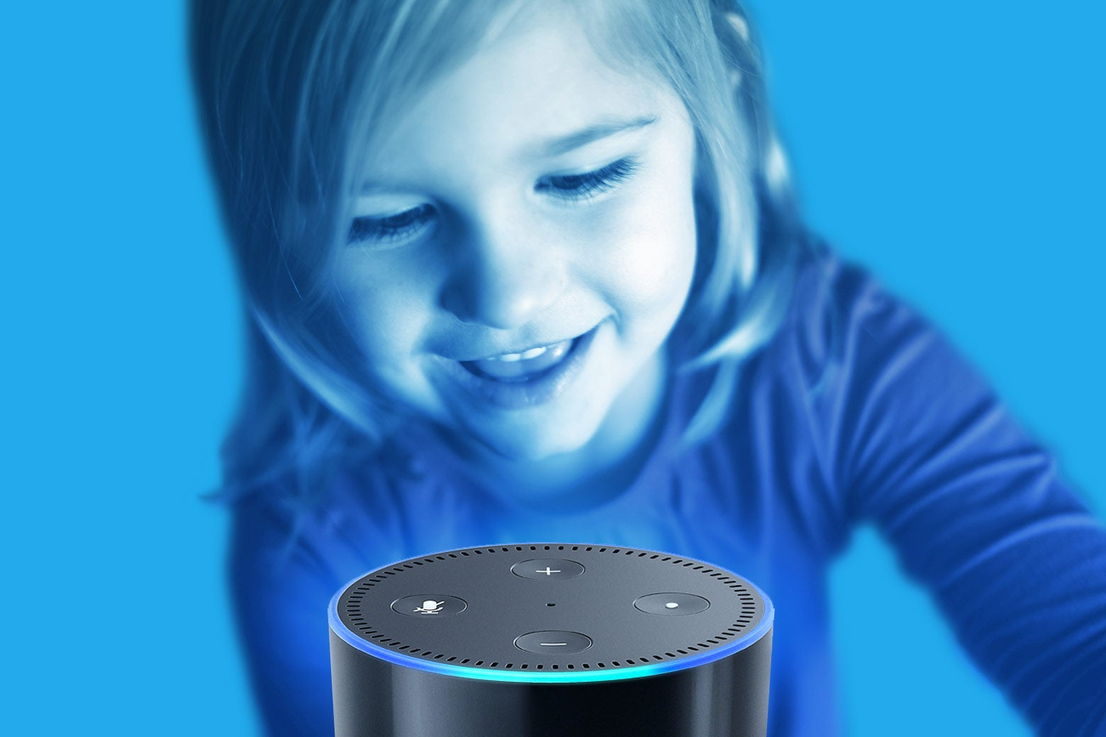 A child speaking to an Echo.