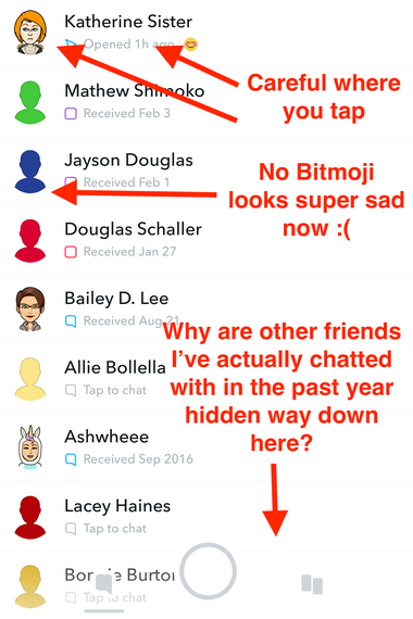 A screenshot of Snapchat's friends interface.