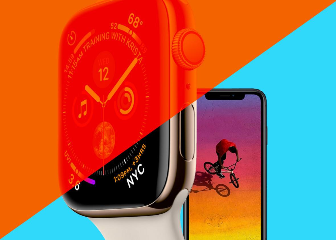 The iPhone XR and the Series 4 Apple Watch.