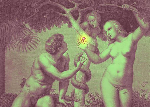 Temptation of Adam and Eve, Genesis, Chapter 3, v 6.