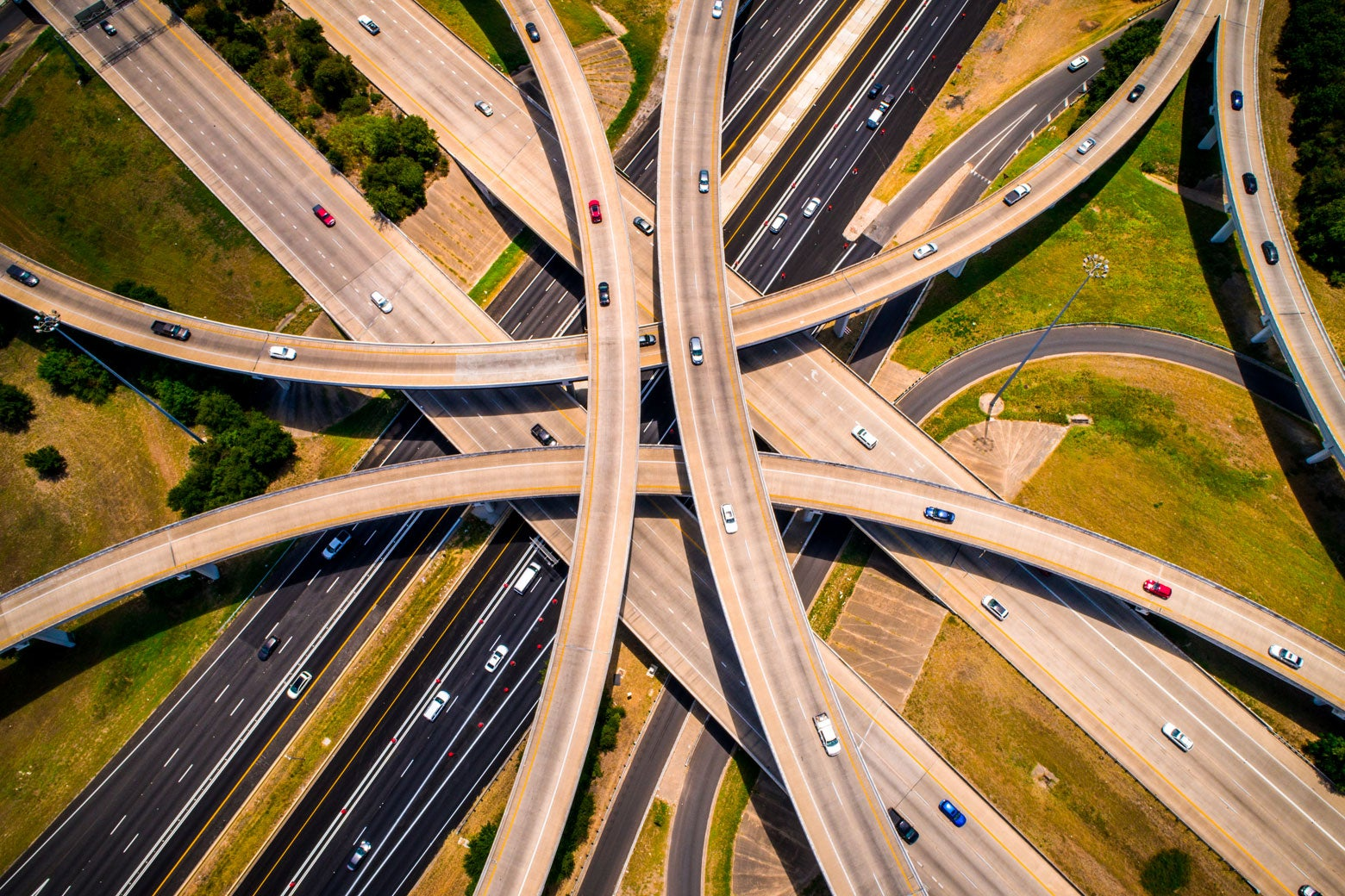 Aerial view of a massive highway intersection.