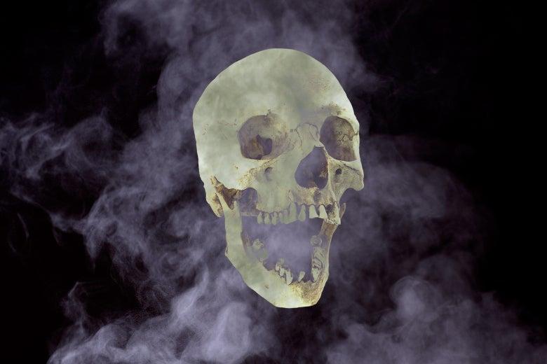 A human skull and smoke.