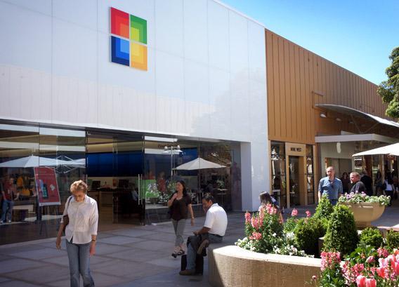 Exterior of Microsoft store in Palo Alto, Ca.
