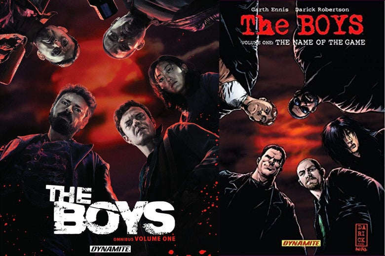 Promo image of The Boys for Amazon and a cover of The Boys, the comic.