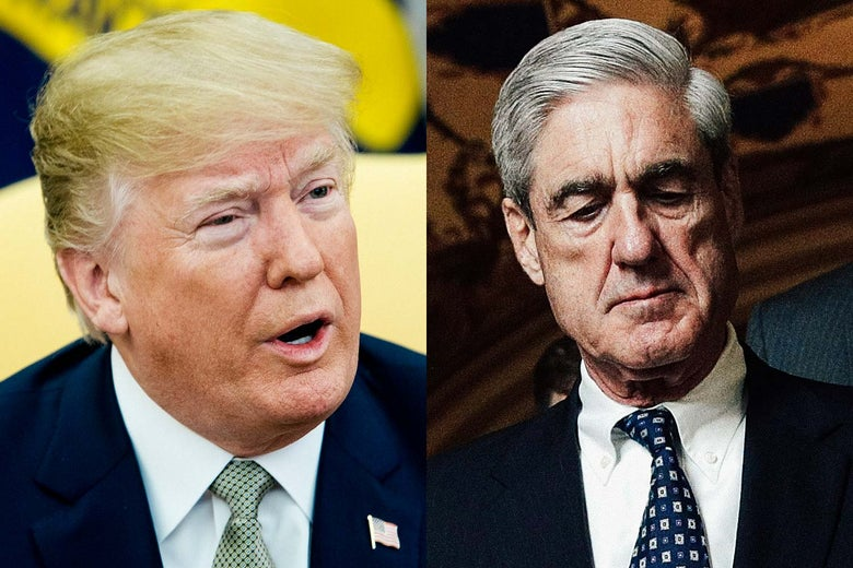 Photo illustration: side-by-side of President Donald Trump and special counsel Robert Mueller.
