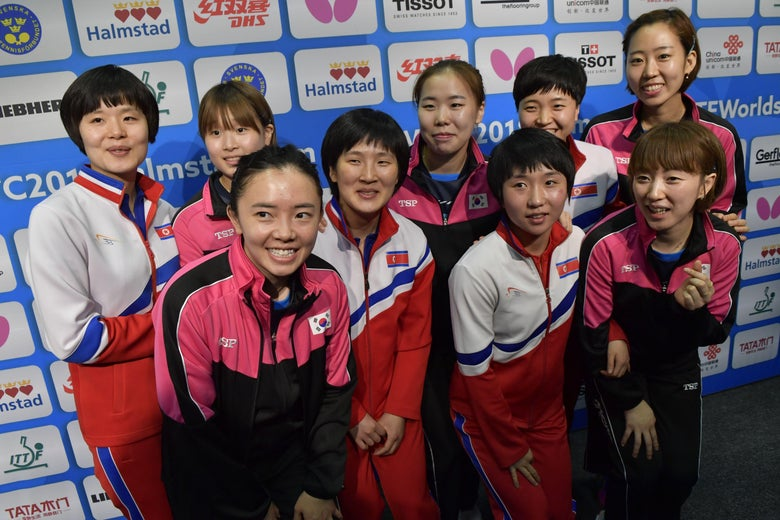 Teams of North Korea and South Korea pose together for a picture at the World Team Table Tennis Championships 2018 in Halmstad, Sweden May 3, 2018.