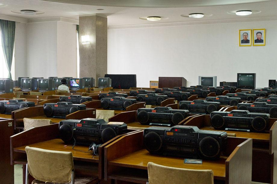 Cultural education room with TV's and Boomboxes at Grand People's Study House, North Koreas biggest library and educational centre.