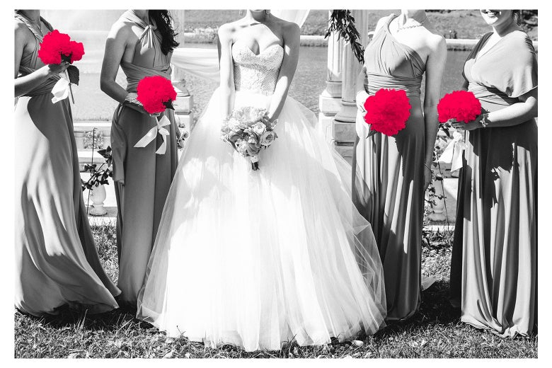 A less-than professional looking photo of a bridal party.
