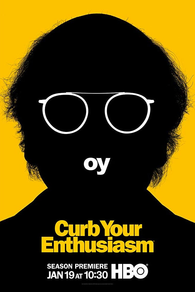 "A scraggle-haired black silhouette of a man against a yellow background. ""Curb Your Enthusiasm: Season Premiere Jan 19 at 10:30, HBO."""