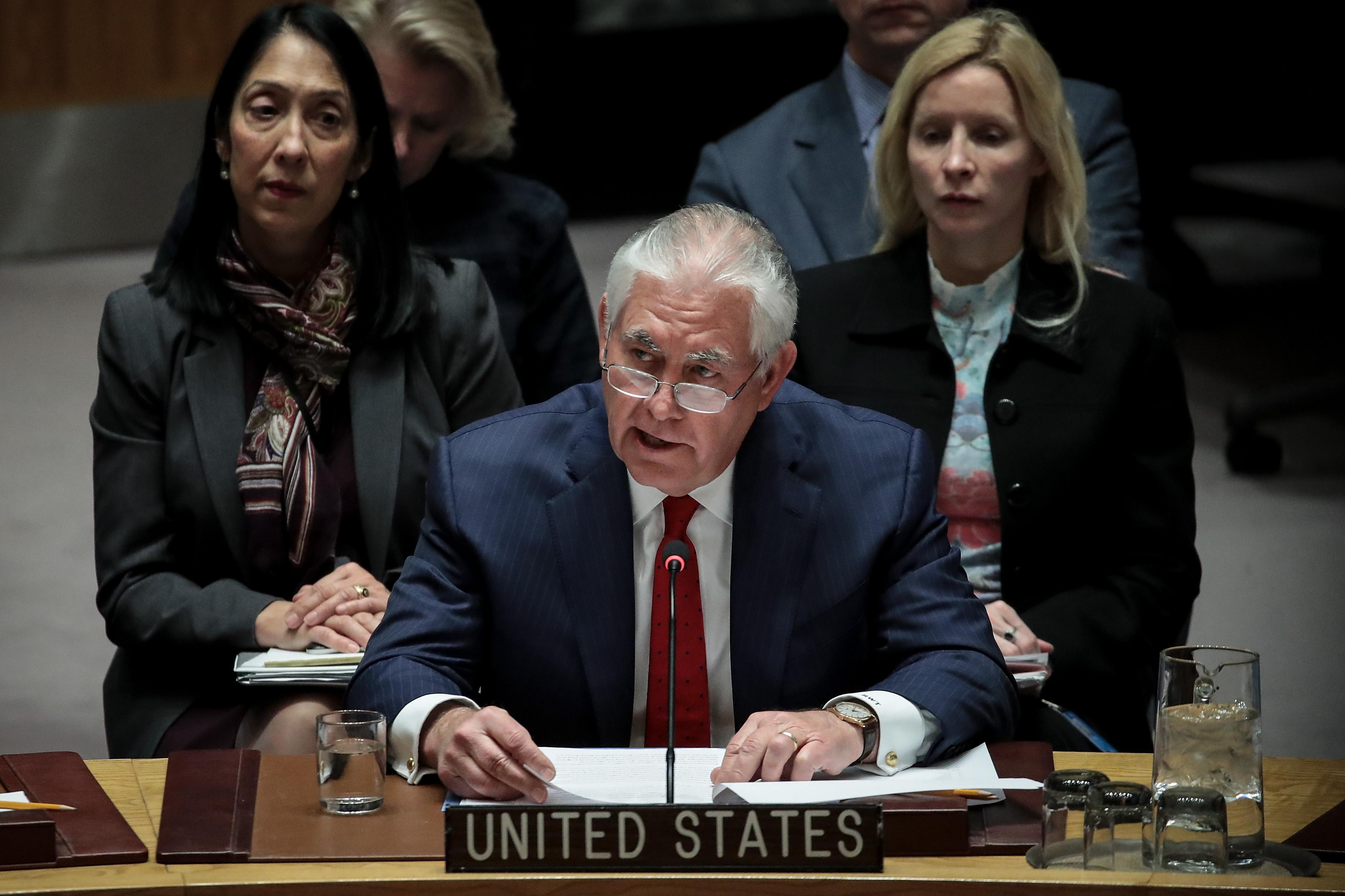 NEW YORK, NY - DECEMBER 15: U.S. Secretary of State Rex Tillerson speaks during a United Nations Security Council meeting concerning North Korea's nuclear ambitions, December 15, 2017 in New York City. On Thursday, UN Secretary-General Antonio Guterres said that the Security Council resolutions on North Korea's nuclear programs must be fully implemented. (Photo by Drew Angerer/Getty Images)