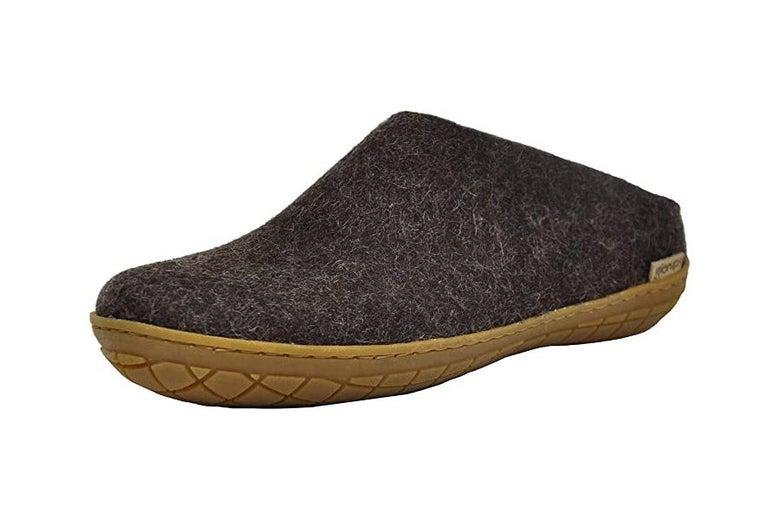 A single Glerups moccasin slipper.