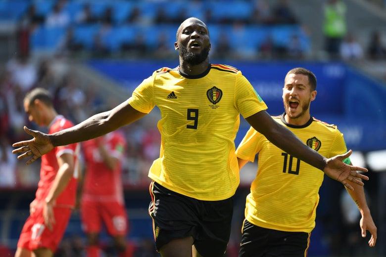 Belgium's forward Romelu Lukaku celebrates after scoring against Tunisia.