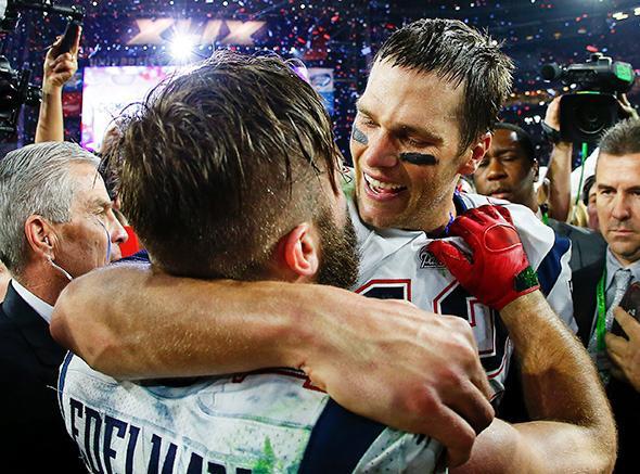 Tom Brady #12 and Julian Edelman #11 of the New England Patriot, Tom Brady #12 and Julian Edelman #11 of the New England Patriots