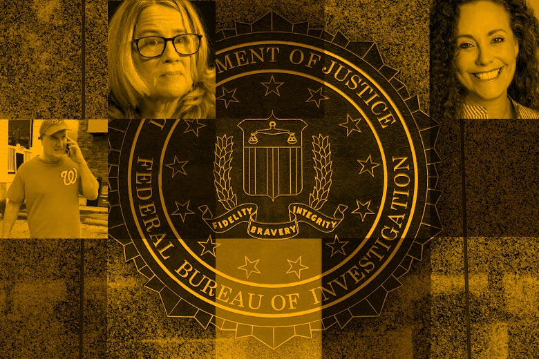 Head shots of the Christine Blasey Ford, Julie Swetnick, Deborah Ramirez, and Mark Judge around the FBI seal.