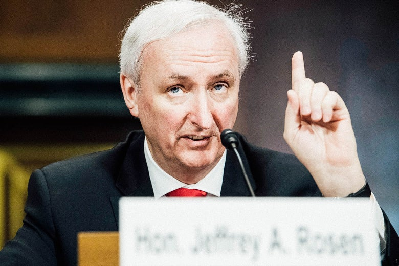 Jeffrey Rosen, deputy attorney general nominee, testifies during his Senate Judiciary Committee confirmation hearing.