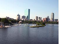 View from the bridge back toward Boston
