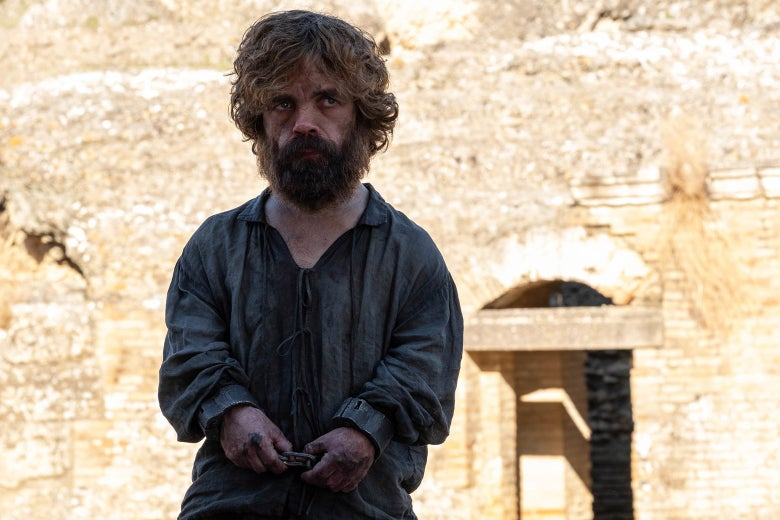 Peter Dinklage's character in handcuffs.