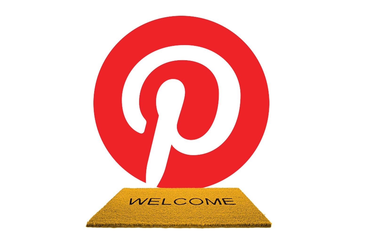 Welcome mat in front of Pinterest logo.