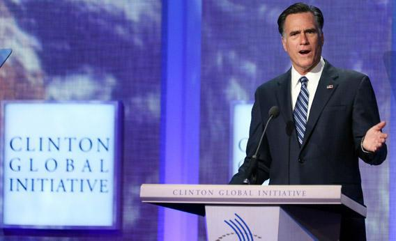 Mitt Romney speaks at the Clinton Global Initiative meeting on Tuesday in New York City.