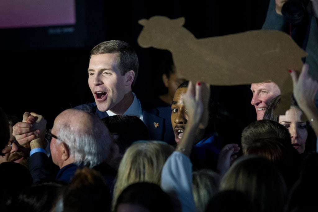 Conor Lamb at an election-night rally in Canonsburg, Pennsylvania in the early hours of Wednesday morning.