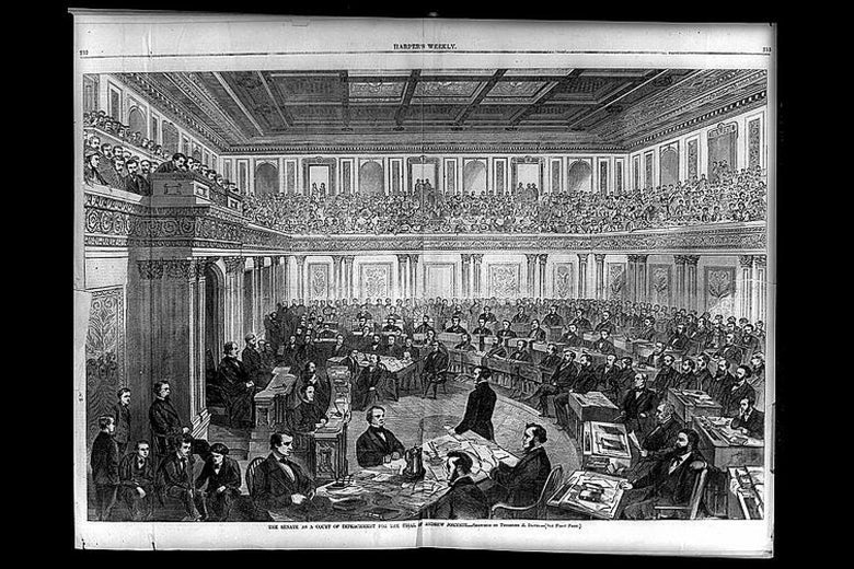 Illustration of Senate as a court of impeachment for the trial of Andrew Johnson.