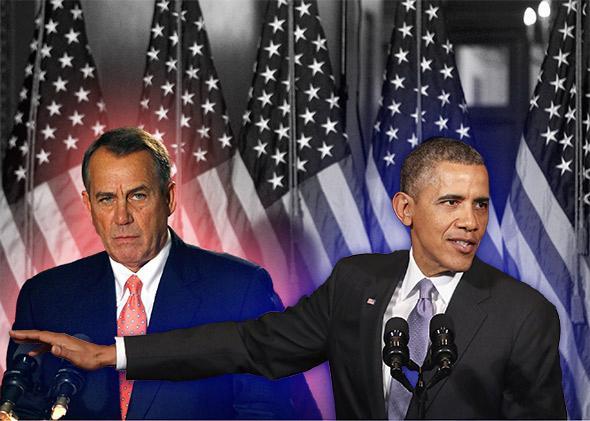 House Speaker John Boehner and U.S. President Barack Obama.