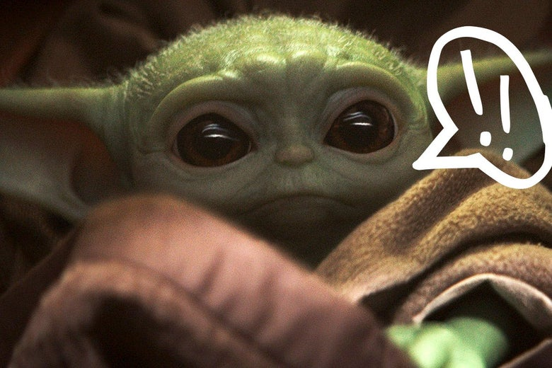 Baby Yoda with a speech bubble next to his mouth.