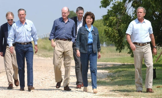 President Bush met with his economic team at his Texas ranch.