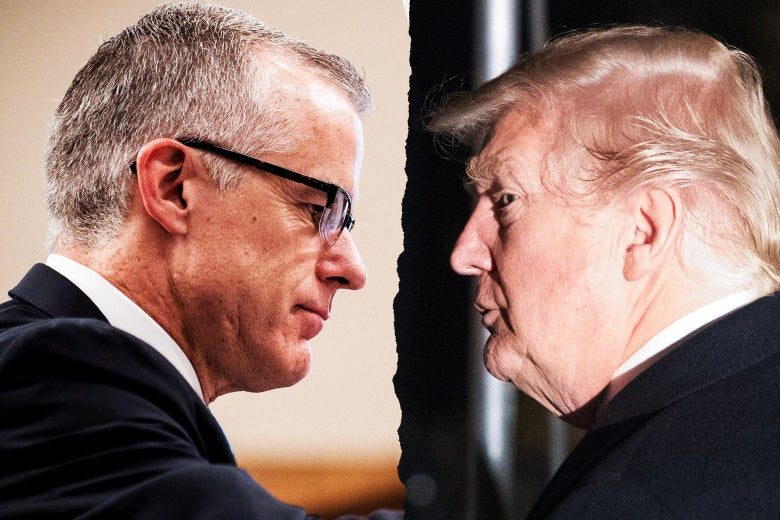 A photo illustration of Andrew McCabe and President Donald Trump facing off with a torn-paper line between them.