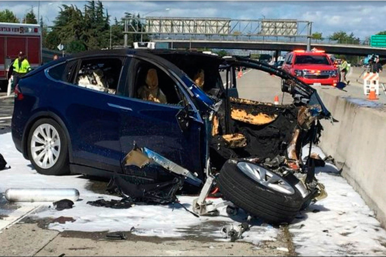 A Tesla electric SUV that crashed while using Autopilot.
